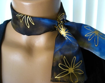 Blue, Brown & White Silk Scarflette, Gold Flowers. Small Hand Dyed Neck Scarf. 6x24 inch Sapphire Earth Petite Silk Scarf.  Free Scarf Ring.