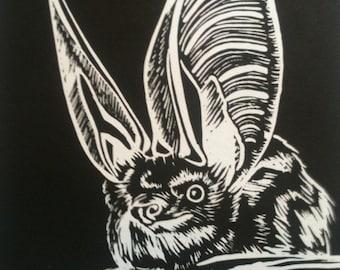 Long eared bat linocut