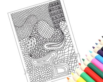 Printable Coloring Page, Zentangle Inspired Coloring Pattern, Page 25