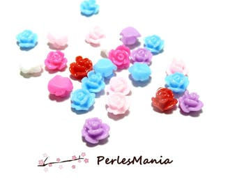 40 cabochons resin flowers 8 by 4mm small H112036 ref