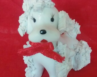 "Cute 2"" Spaghetti Poodle White Red Ribbon 1960s  Vintage Ceramic Figurine"