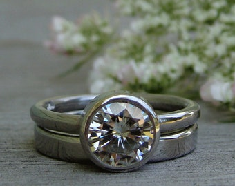 Forever One G-H-I Moissanite and Recycled 950 Palladium Alternative Engagement Ring and Wedding Band, Eco Friendly, Made to Order