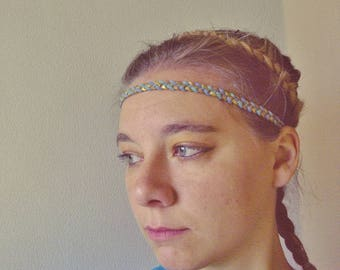 Braided suede headband blue, gold and brown glitter