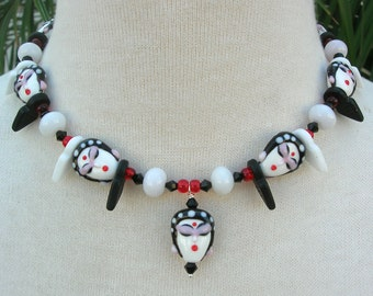 9 Oriental Ladies, White Jade and Black & White Talhakimt Beads, from the Faces Collection, Choker Necklace Set by SandraDesigns
