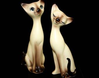 Norcrest Siamese Cat Figurines Pair Ceramic Vintage