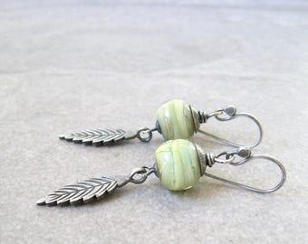 yellow lampwork and silver earrings, rustic dangle earrings, oxidized jewelry, chartreuse boho earrings, botanical jewelry