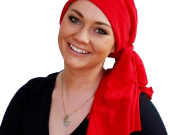 Carlee Pre-Tied Head Scarf, Women's Cancer Headwear, Chemo Scarf, Alopecia Hat, Head Wrap, Head Cover for Hair Loss - Red