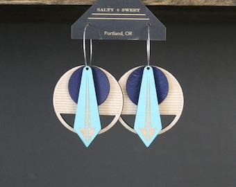 Laser cut earring | ARROW: Blue