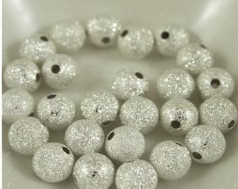 8mm Silver Stardust Beads-Qty 25 (MW 8R ST)
