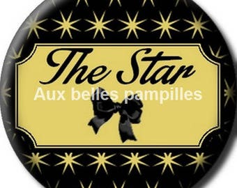 Round stick cabochon resin 25 mm - the star (1329) - text, Word