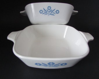 VINTAGE Corning Ware small blue flower pot / vintage Corning Ware Casserole, Set Of (2)