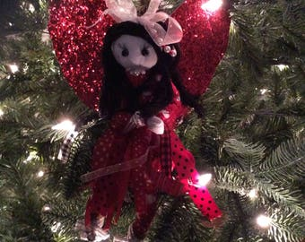 Red angel for Christmas tree, Christmas angel tree topper, Red angel with black hair tree topper, glitter winged angel for tree