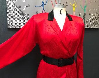 Vintage Liz Claibourne Red Silk Paisley 80's dress.