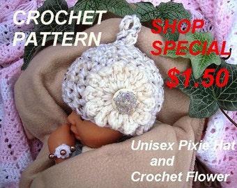 CROCHET HAT PATTERN, Unisex Pixie Hat, Baby Patterns, Photo Prop Hat, 3 sizes fits Newborn to 12 Months, Shop Special, #734