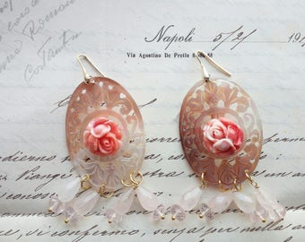 Rose Quartz Pink mother of Pearl Silver earrings