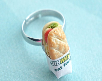 subway sandwich ring- miniature food, sub sandwich ring, fast food jewelry