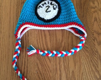 Warm Handmade Crochet Thing 1 hat with earflaps Thing one Dr. Suess infant-adult sizes available