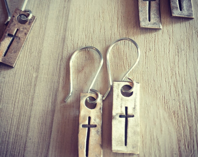 Gold and Silver Cross Stamped Earrings, Cross Earrings, Dangling Earrings, Mixed Metal Earrings, Faith Earrings, Cross Earrings