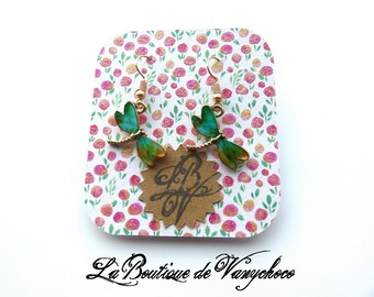 "Gold tone """" green Dragonfly earrings"