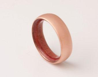 Copper Wedding Band // Copper Wood Ring // Red Cedar Ring // Man Ring // mens wood wedding band