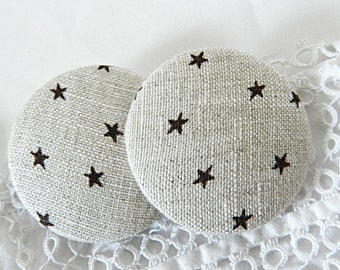 Beige fabric button with stars, 40 mm / 1.57 in