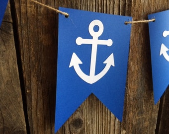 Nautical Anchor Banner - Nautical Decor, Nautical Baby Shower, Nautical Party, Under the Sea Party, Photo Prop