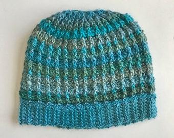 Messy Bun Hat - Blue
