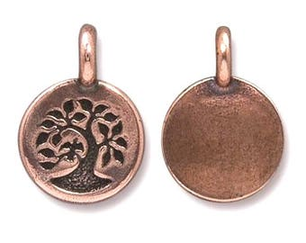 3 TierraCast Bird in a Tree 5/8 inch ( 17 mm ) Copper Plated Pewter Charms Pendants