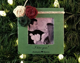 Personalized Christmas gift for boyfriend girlfriend i love you ornament picture frame