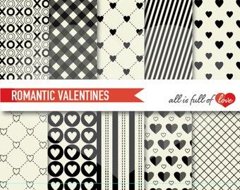 VALENTINES Digital Paper Pack Black WHITE Scrapbooking Patterns Background Valentines Paper 12/15