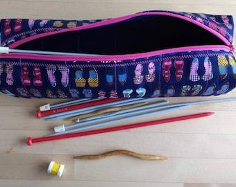 Shoe lovers case for crochet hooks, knitting needle case etc. Craft notions case, pencil case. Hobby storage case. Crochet hook holder.