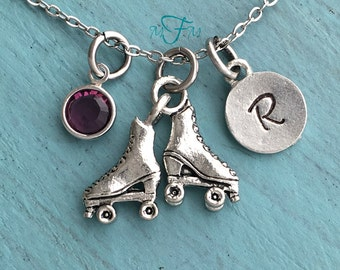 Roller Skates Charm Necklace, Personalized Necklace, Silver Pewter Roller Skate Charm, Custom Necklace, Swarovski Crystal birthstone