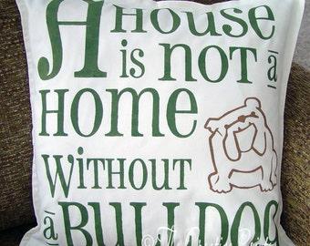 Hand Painted Bulldog Pillow