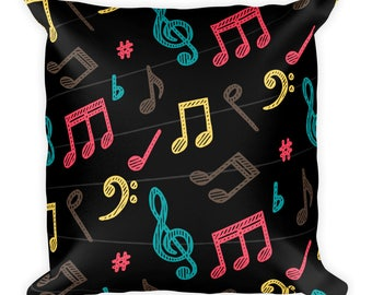 music pillow, music note pillow, musical pillow, music throw pillow, music home decor, music room decor, music bedroom decor, music bedding