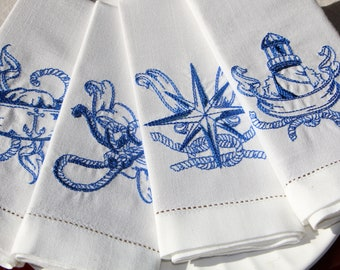 Dinner Napkins, cloth, set of 6, embroidered with Nautical Designs, White Cotton Linen with Hemstitch, Hostess or Birthday Gift