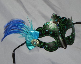 Masquerade Mask in Green and Black with Blue and Turquoise Accents