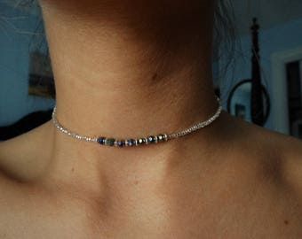 Silver and iridescent beaded necklace