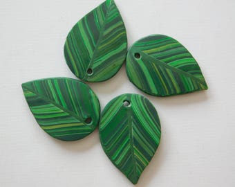 Green Leaf Charms, polymer clay top drilled jewelry pendants