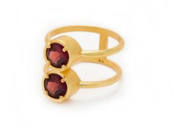 Stacked Ring - Garnet in Yellow Gold Ring - Stacking Ring - Natural Gemstone Ring - Round Stack Ring - Double Gemstone - Sizes 5, 6, 7