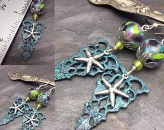Deep Sea Mermaid's Treasure Earring, Lampwork Beads, Starfish, Filigree