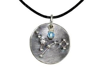 Pisces Constellation Zodiac Fine Silver Pendant with Birthstone