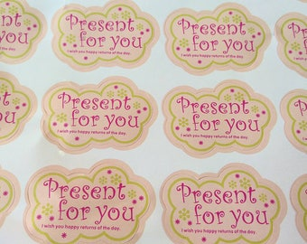 """40 High Quality labels or stickers for envelopes, gift, packaging labels. """"Present for you"""" stickers. Self adhesive stickers."""