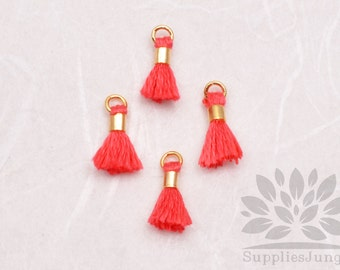 T010-PK// Pink Tiny 10mm Tassel, 6 pcs