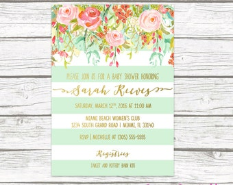 Floral Baby Shower Invitation Girl, Boho Baby Shower Invite, Spring Baby Shower Invitation, Mint Green and Gold Baby Shower Printable