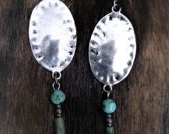 Hammered disk drop earrings