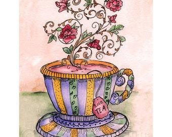 A Cup of Rose Tea Print