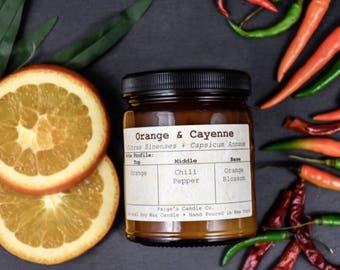 Orange & Cayenne Scented Natural Soy Wax Candle