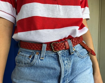 Vintage Red Braided Leather Belt, Small Medium Red Leather Belt