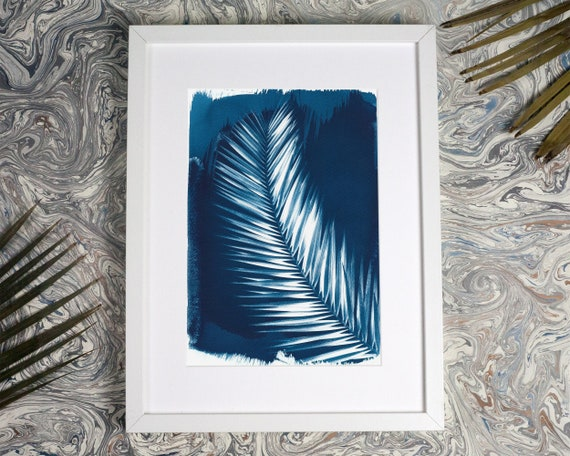 Palm Leaf Cyanotype Print on Watercolor Paper, Palm Tree, Palm Leaf Art, Tropical Art Print, Plant Lover Gift, Boho Chic Art Limited Edition