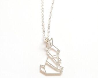 RABBIT ORIGAMI NECKLACE, Christmas jewellery, origami jewelry, bunny necklace, geometric rabbit, geometric necklace, origami bunny pendant